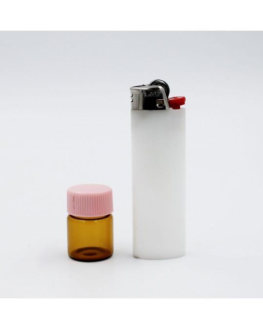 CH 3CM AMBER JAR, PINK PLASTIC TOP